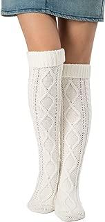 Leotruny Women's Diamond Knit Knee Winter Leg Warmers High Boot Socks