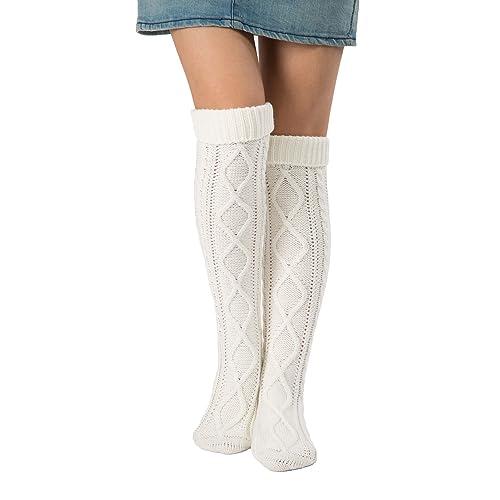 2d8766bee67 Leotruny Women s Diamond Knit Knee Winter Leg Warmers High Boot Socks