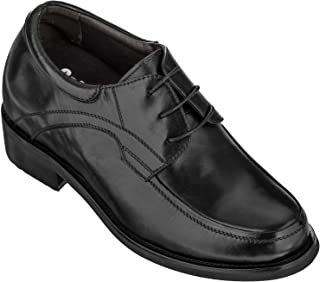 Calden Height Increasing Elevator Shoes 4 Inches Taller Black Leather Lace up Dress Shoes Extra Tall - K512631