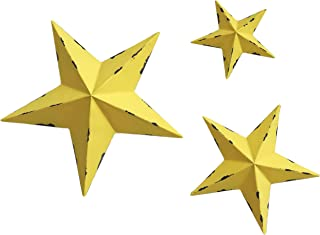 Best YL Crafts - Metal Star Wall Decoration Mounted Wall Art 3pcs/Set (Yellow) Review