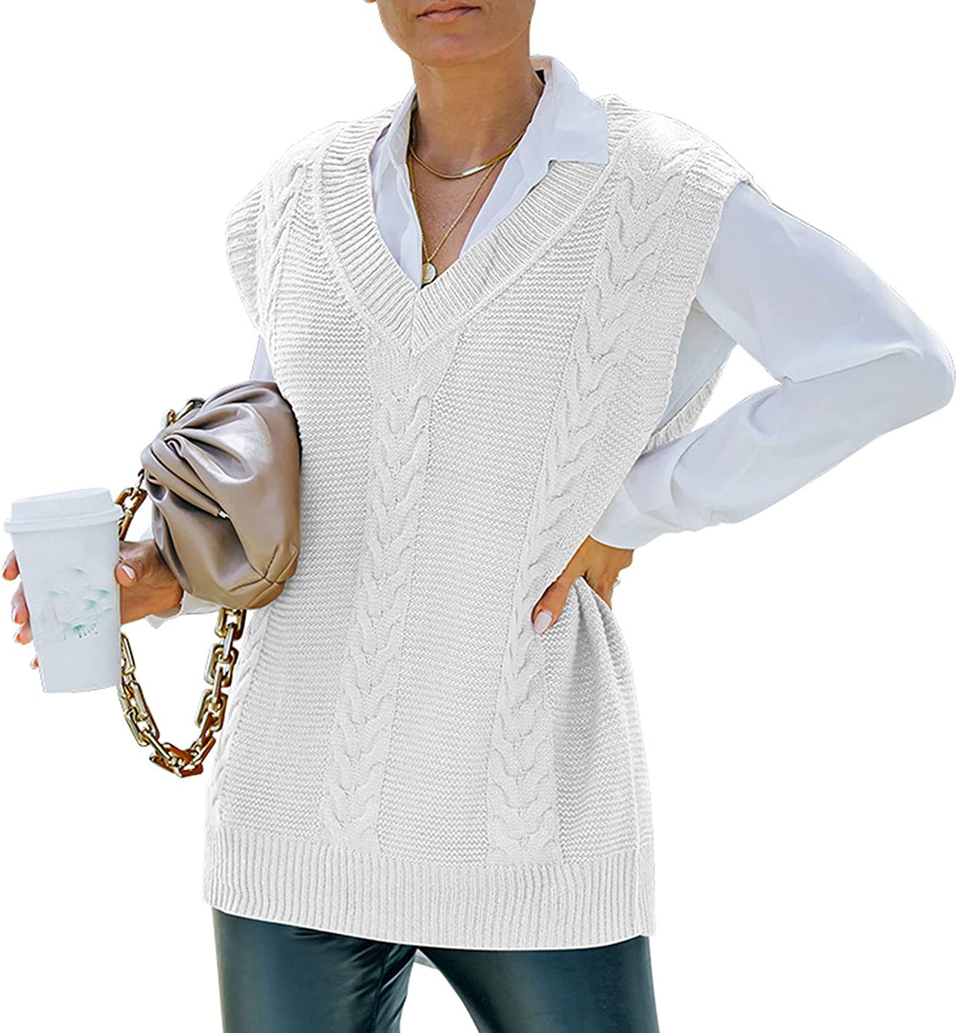Zontroldy Womens V Neck Sweater Vest Oversized Knit Solid Color Sleeveless Pullover Tops
