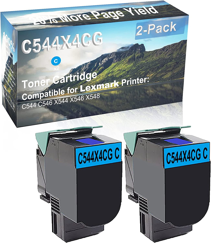 2-Pack (Cyan) Compatible C544 C546 X544 X546 X548 Printer Toner Cartridge High Capacity Replacement for Lexmark C544X4CG Toner Cartridge