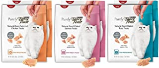 Purely Fancy Feast Natural Cat Treat Variety Pack, 3 Flavors (Chicken, Salmon, & Tuna), 6 Total Pouches