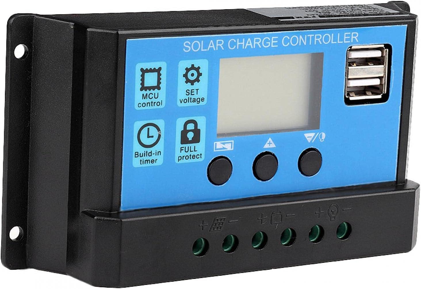 Controlador de carga solar, regulador inteligente de batería de panel solar 60A/50A/40A/30A/20A/10A 12V 24V Controlador de carga solar automático Controlador PWM(30A)