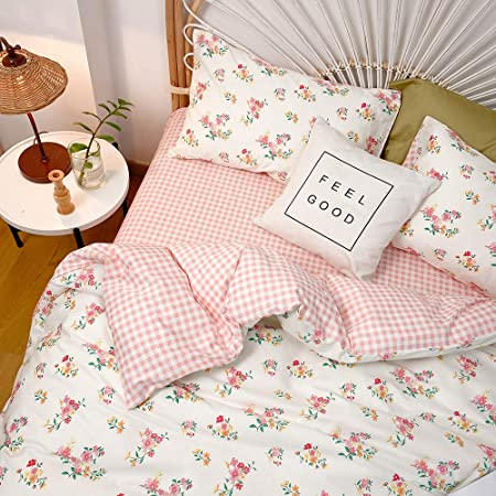 BAHK, Queen Floral Elegant Rural Style Print Pattern Girls Duvet Cover Premium Cotton Nature Blossom Colorful Reversible Kids Bedroom Comforter Cover Bedding Sets for Teen Girls,Zipper Closure