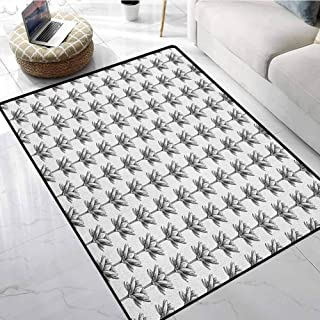 Lotus Small Area Rugs 6.7x10 ft Monochrome Lotus Flowers Sketch Style Chinese Cultural Symbols Stalks and Petals Kids Carpet Playmat Rug