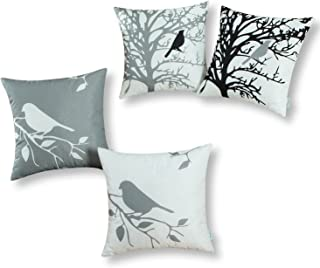CaliTime Set of 4 Soft Canvas Throw Pillow Covers Cases for Couch Sofa Home Decoration Shadow Bird Tree Branches Silhouette 18 X 18 Inches Medium Grey