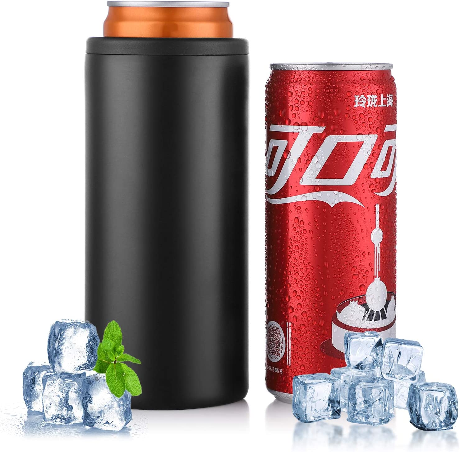 Stainless Steel Insulated Can Cooler for 12 Oz Slim Cans and Bot