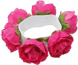 Flower Floral Bun Garland Head Knot Hair Top Ties Scrunchie Ponytail Holder JW05 (5-Rose red)