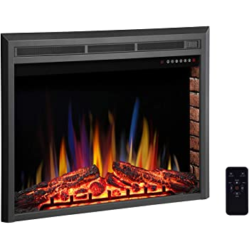 """R.W.FLAME 39"""" Electric Fireplace Insert,Freestanding & Recessed Electric Stove Heater,Touch Screen,Remote Control,750W-1500W with Timer & Colorful Flame Option"""