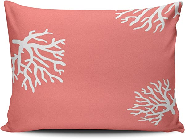 Salleing Custom Pretty Cute Beach Coral Decorative Pillowcase Pillowslip Throw Pillow Case Cover Zippered One Side Printed 12x16 Inches