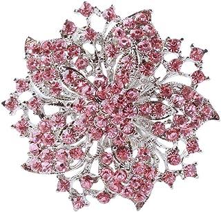 Pinhan Kristall Broschen Schals Schnalle Floriated Brosche Strass Corsage Bouquet, Pink