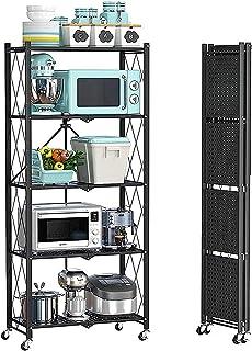 SDKFJ Rangement Salle de Bain Étagères de Rangement Pliables Chariot Organisateur de Rack à 5 Niveaux avec roulettes sous-...