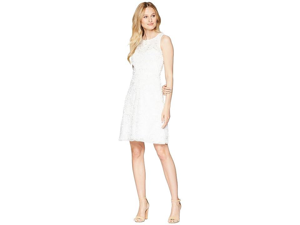 Taylor Soft Petal Textured Cocktail Dress (White) Women