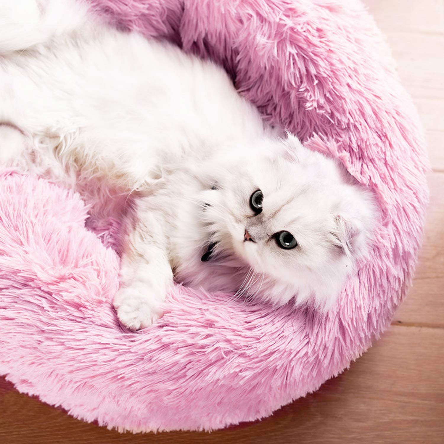 PETCUTE Dog Bed Cat Bed for Indoor Cats Washable Plush Donut Pet Bed Soft Calming Cuddler Kennel Small Medium Large