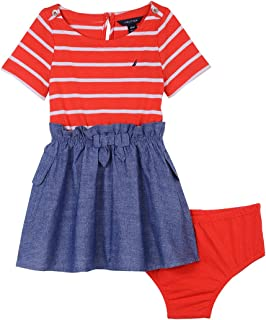 Girls' Combination Dress with Chambray Skirt