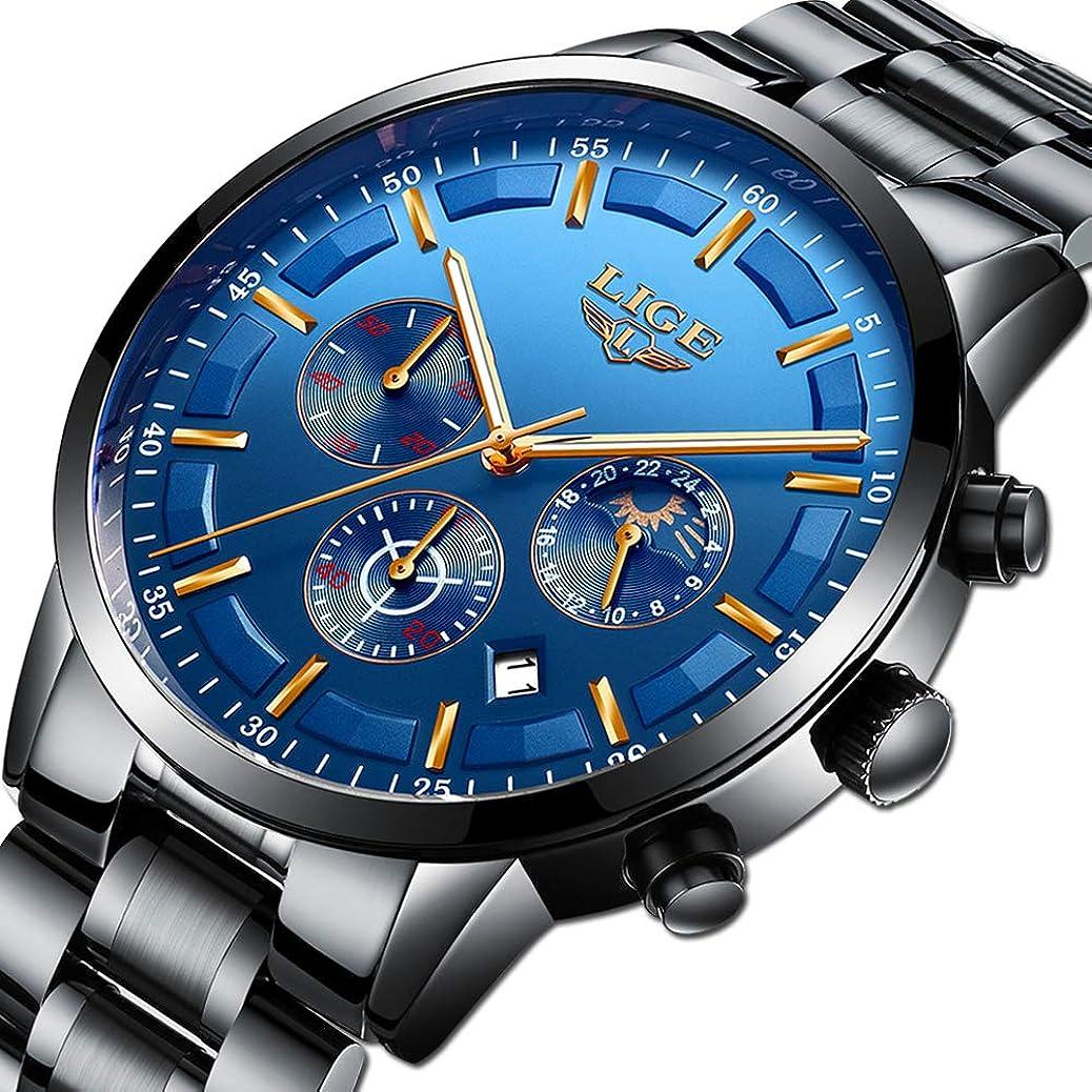 LIGE Men Watch Waterproof Stainless Steel Casual Fashion Dress Business Analog Quartz Watch Sports Chronograph (Black Blue) sbbo3603548776