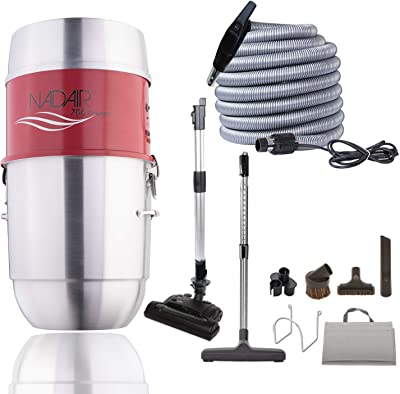 Nadair 700 AW Compact and Powerful Central Vacuum System, Hybrid Filtration (with or Without Disposable Bags), 22L or 5.8 Gal, with 30ft Carpet Deluxe Accessory Kit Included, Silver