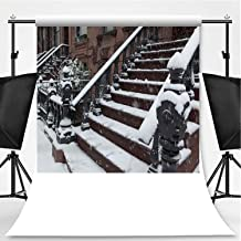 Brooklyn Brownstone Townhouse Stoop in a Winter Snow Storm Photography Backdrop,059974 for Video Photography,Flannelette:6x10ft