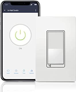 TOPGREENER Smart Wi-Fi Switch, In-Wall, Single Pole or 3-Way, No Hub Required, Works with Amazon Alexa and Google Assistant, TGWF15S