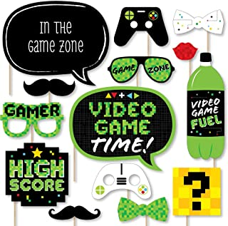 Big Dot of Happiness Game Zone - Pixel Video Game Party or Birthday Party Photo Booth Props Kit - 20 Count