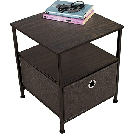Sorbus Nightstand 1-Drawer Shelf Storage- Bedside Furniture & Accent End Table Chest for Home, Bedroom, Office, College Dorm, Steel Frame, Wood Top, Easy Pull Fabric Bins (Brown)