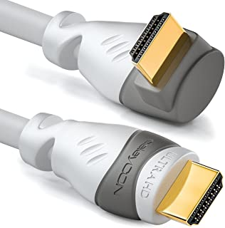 deleyCON 2m (6.56 ft.) HDMI 90° Angle Cable - Compatible with HDMI 2.0/1.4 - UHD 4K HDR 3D 1080p 2160p ARC - High speed with Ethernet - White