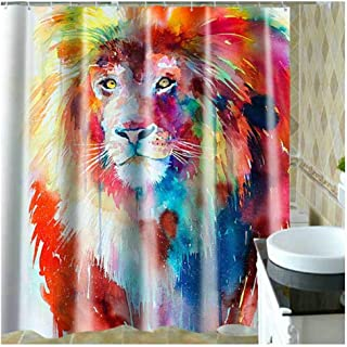 Aokarry Hotel Quality Polyester Shower Curtain for Bathroom Colorful Lion Colorful(Colorful Lion) 150X180Cm