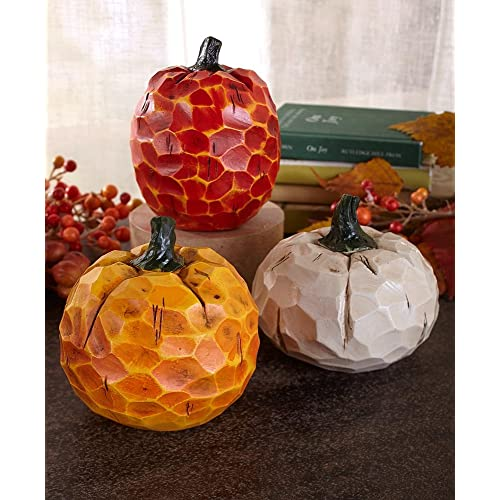 Superbe Holiday Designs Small Carved Pumpkin Set Of 3   Fall Or Thanksgiving  Decoration Or Table Centerpiece