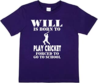 Print4u T-Shirt Will Born to Play Cricket Customised