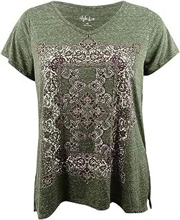 Style & Co. Womens Plus Metallic Short Sleeves T-Shirt