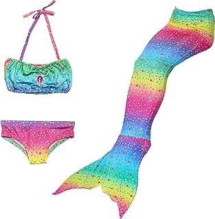 HHD® 3Pcs Establece bañadores niña Traje de baño Bañador De Sirena Disfraz De Princesa Bikini niña Cola de Sirena para Nad...