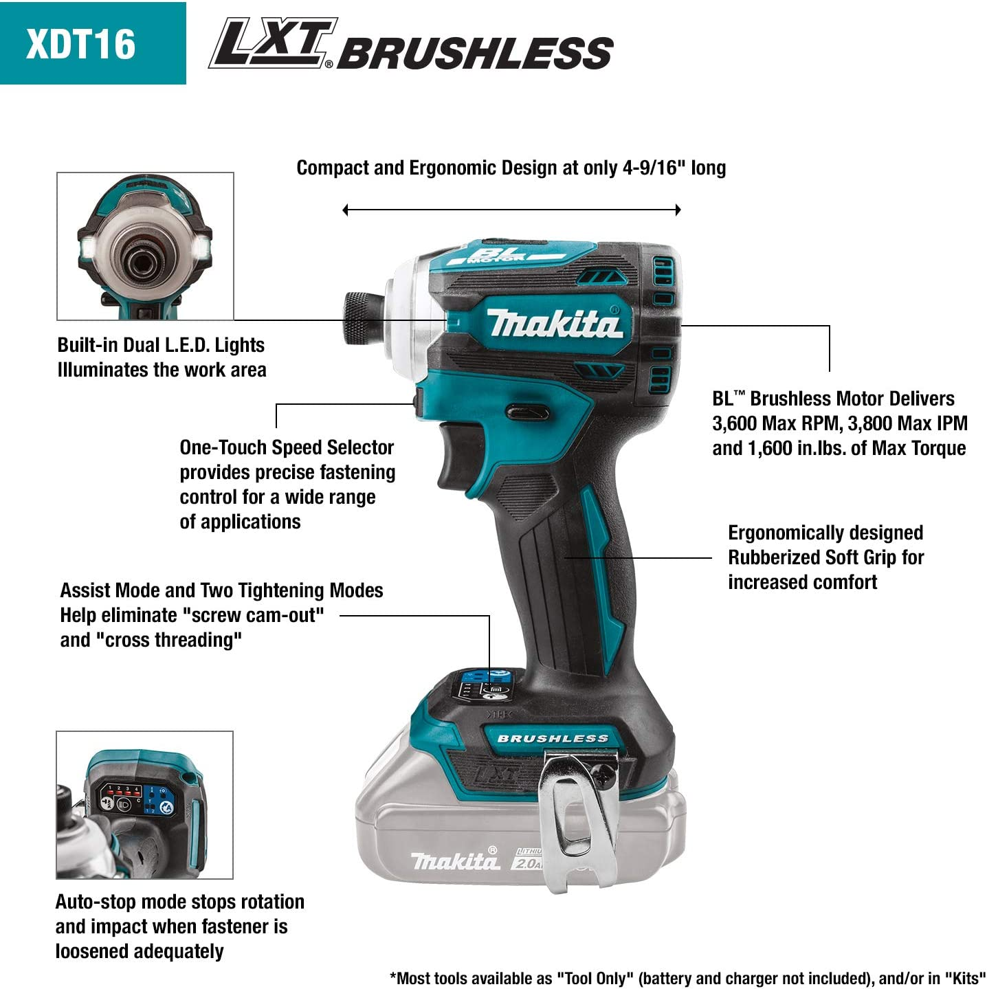 The XDT16Z offers users four speeds and Makita's exclusive Quick-Shift mode to enhance tightening controls. Behind these 4 speeds, Makita has made technology for users. When the user feels this speed is lacking, this tool will optimize between speed and torque. This means I can use it for the smoothest screws.