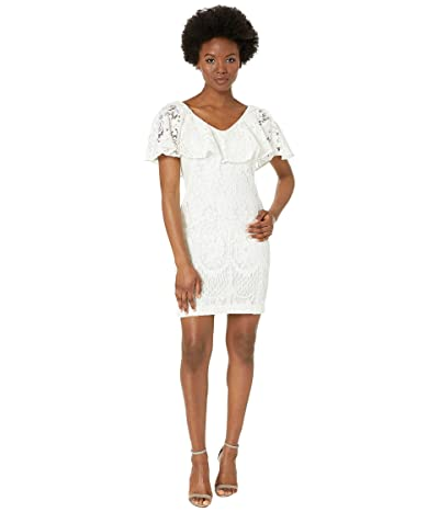 LAUREN Ralph Lauren Petite 177A Lore Floral Lace Tamalira Sleeveless Day Dress (Lauren White) Women
