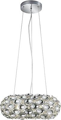 Reality Leuchten R30343006 Spoon Lampe Suspendue, Résine Acrylique, E14, Argent, 47 x 47 x 150 cm
