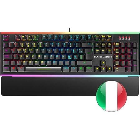 MARSGAMING MK6RIT, RGB Tastiera Ottico-Meccanica, Switch Rosso, Layout Italiano