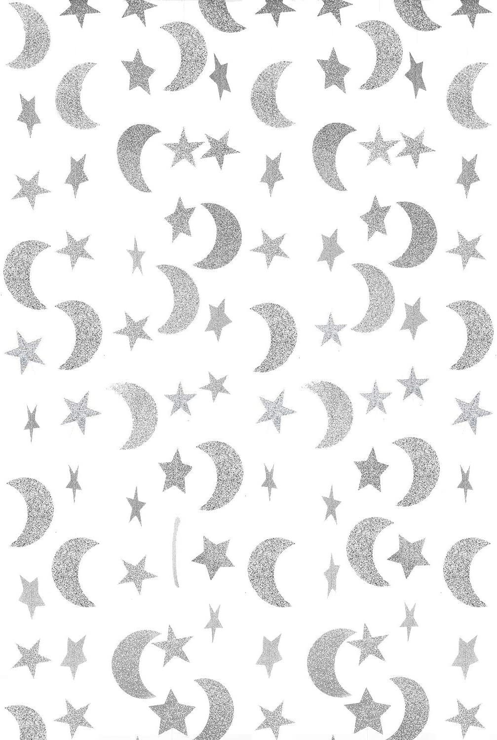 WEVEN Silver Glitter Moon Star Paper Garland, Twinkle Twinkle Little Star and Moon Banner Hanging Party Decorations for Wedding, Thanksgiving, Baby Shower, Birthday Party, 20 Feet in Total