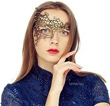 MYMENU Masquerade Mask for Women Luxury Venetian Mask Women's Lace Eye Mask for Masquerade Party Prom Ball Bar Costume Festival Carnival Mardi Gras (Half Face Gold)