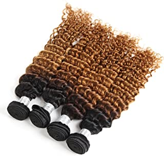 XYHair Ombre 4 bundles Deep Curly Human Hair Extensions Ombre Deep Wave Virgin Human Hair Bundles 1B/30(16161616)