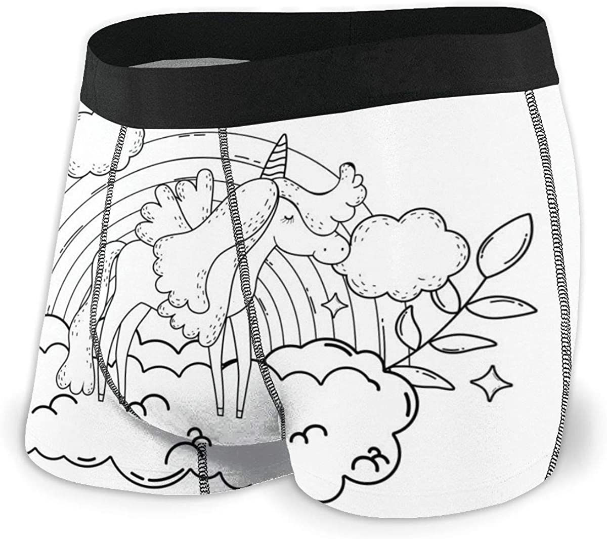 Mens Boxer Briefs Cute Unicorn Rainbow White Hand Painted Boys Trunks Underwear Short Leg Breathable Man