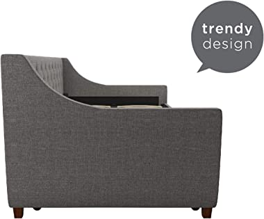 Novogratz Her Majesty Upholstered Daybed with Trundle, Twin Size Frame, Grey Linen