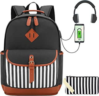 Canvas School Backpack with Pencil Bag 2 in 1 Bookbags Set for Teen Girls College Backpack with USB Womens 15.6 inch Laptop Backpack (Black Stripe)
