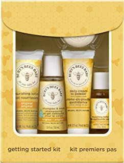 Burt's Bees Baby Getting Started Gift Set, 5 Trial Size Baby Skin Care Products - Lotion, Shampoo & Wash, Daily Cream-to-P...