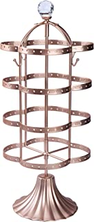 """Amigas Home Modern Unique 4-Tier 14.75"""" Tall Black Rotating Spin Table 64 Pairs Earring Organizer, Durable Metal Necklace Stand, Antique Classic Jewelry Stand - Rose Gold"""