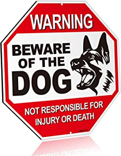 "ANLEY Beware of The Dog Aluminum Warning Sign, No Responsible for Injury Or Death Warning Dog Sign - UV Protected and Weatherproof - 12"" x 12"""