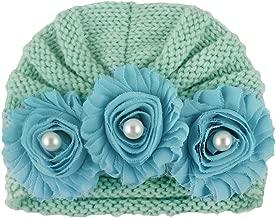 OhradWord Newborn Baby Boys Girls Knitted Bead Hat Beanie Warm Crochet Cap Bead Turban