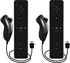 Burcica Remote and Nunchuck Controller for Nintendo Wii Wii U - Black and Black