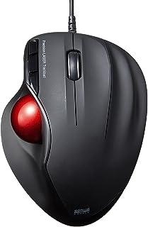 サンワダイレクト トラックボール エルゴノミクス レーザー カウント数自動調整 6ボタン ブラック 400-MA072BK