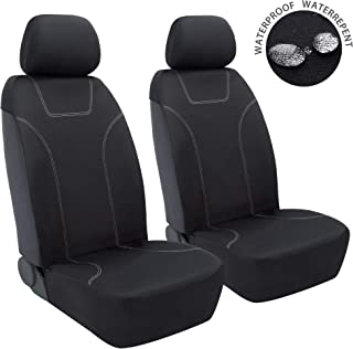 Elantrip Waterproof Neoprene Front Seat Cover Universal Fit Side-Less Quick Install for Car SUV Truck Black 2 PC