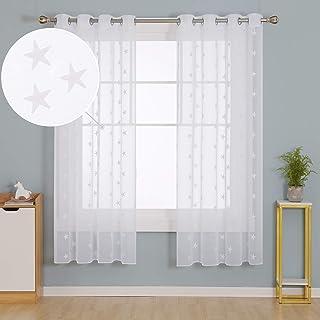 comprar comparacion Doconovo Visillos para Dormitorio Infantil de Salón 140 x 175 cm 2 Piezas Blanco Estrellas y Blanco